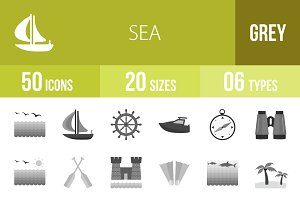 50 Sea Greyscale Icons