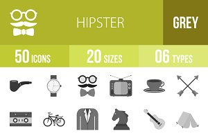 50 Hipster Greyscale Icons