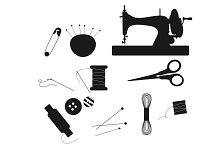 Black silhouette sewing equipment
