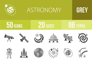 50 Astronomy Greyscale Icons