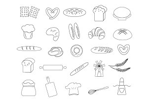 Linear bread icons set
