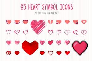 85 Heart Symbol Icons