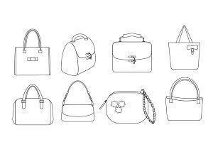 Line bags vector set
