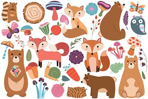 Woodland Animals/Floral Vector & PNG