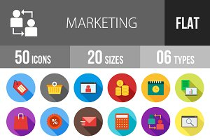 50 Marketing Flat Shadowed Icons