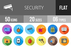 50 Security Flat Shadowed Icons
