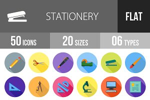 50 Stationery Flat Shadowed Icons