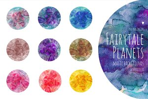 Fairytale Planets. Watercolor