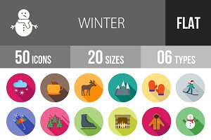 50 Winter Flat Shadowed Icons