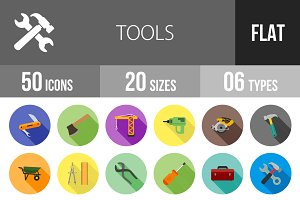 50 Tools Flat Shadowed Icons