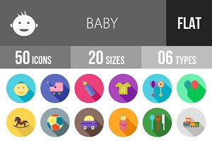 50 Baby Flat Shadowed Icons