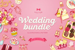 Pink Wedding Illustrations Bundle