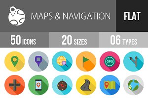 50 Maps Flat Shadowed Icons