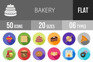 50 Bakery Flat Shadowed Icons