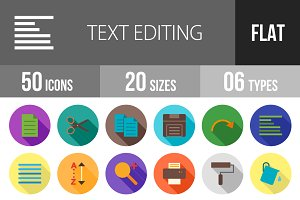 50 Text Editing Flat Shadowed Icons