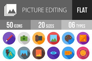 50 Picture Editing Flat Shadow Icons