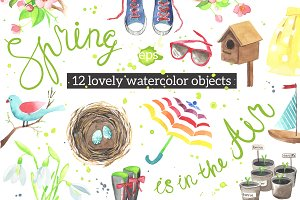Lovely spring watercolor objects.