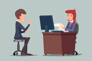 Job Interview Cartoon Illustration