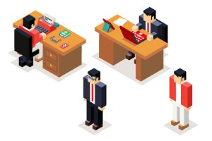 Isometric businessman office