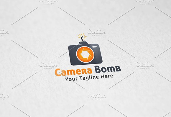 Camera bomb logo template logo templates creative market fandeluxe Image collections