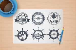 Set of Nautical Yacht Badges