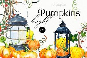 25% SALE Bright Autumn Pumpkins