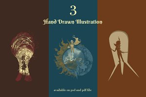 3 Hand Drawn Illustrations