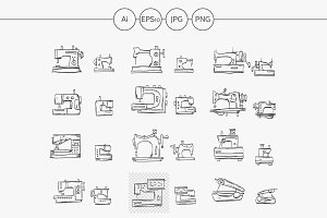Sewing machines sketch vector icons
