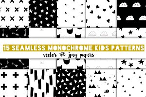 Modern kids patterns,black and white