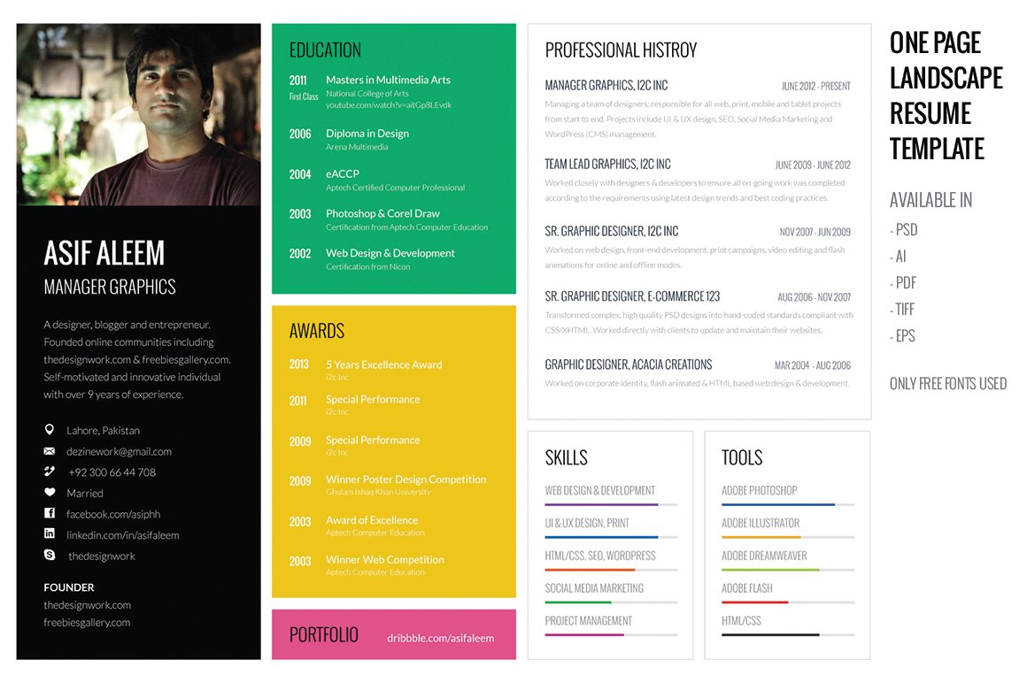 landscape resume cv template resume templates creative market - Resume And Cv Format