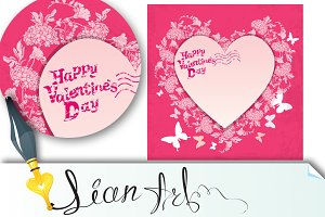Floral card with heart frame