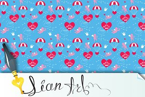Seamless pattern, Valentines Day