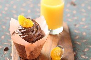 Chocolate Tangerine Cupcake