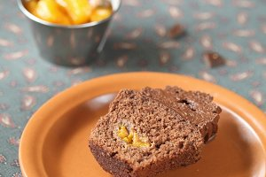 Cut of Chocolate Tangerine Cupcake