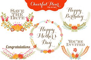 Cheerful Fleur Clip Art & Wreaths