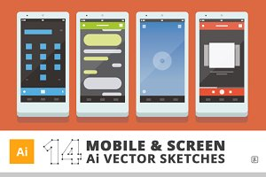 "14 ""Ai"" Mobile & Screen Sketches"