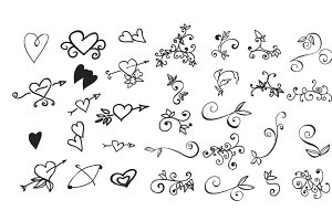 Doodle hearts and floral, swirl
