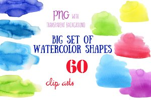 Big set of watercolor shapes