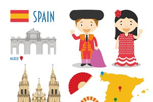 Spain Flat Icon Set Travel