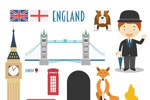 England Flat Icon Set Travel