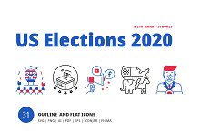 US Election Icons & Illustrations by  in Graphics