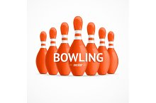 Group of Bowling Pins. Vector
