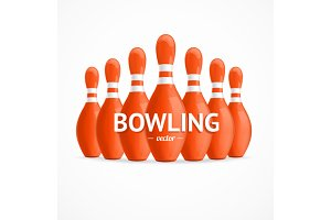 Group of Bowling Pins. Vector