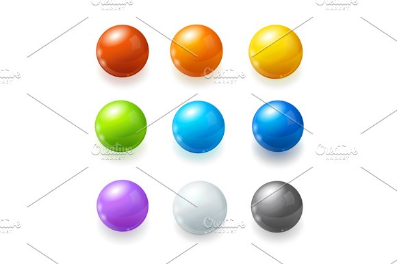 Rainbow Balls Set. Vector - Objects