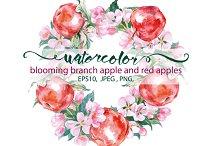 Watercolor apples.