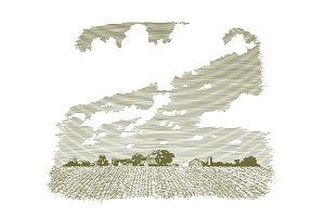 Woodcut Kansas Farm