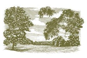 Woodcut Missouri Landscape