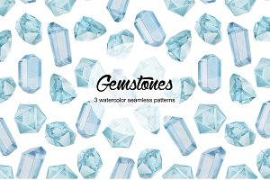 Gemstones seamless patterns