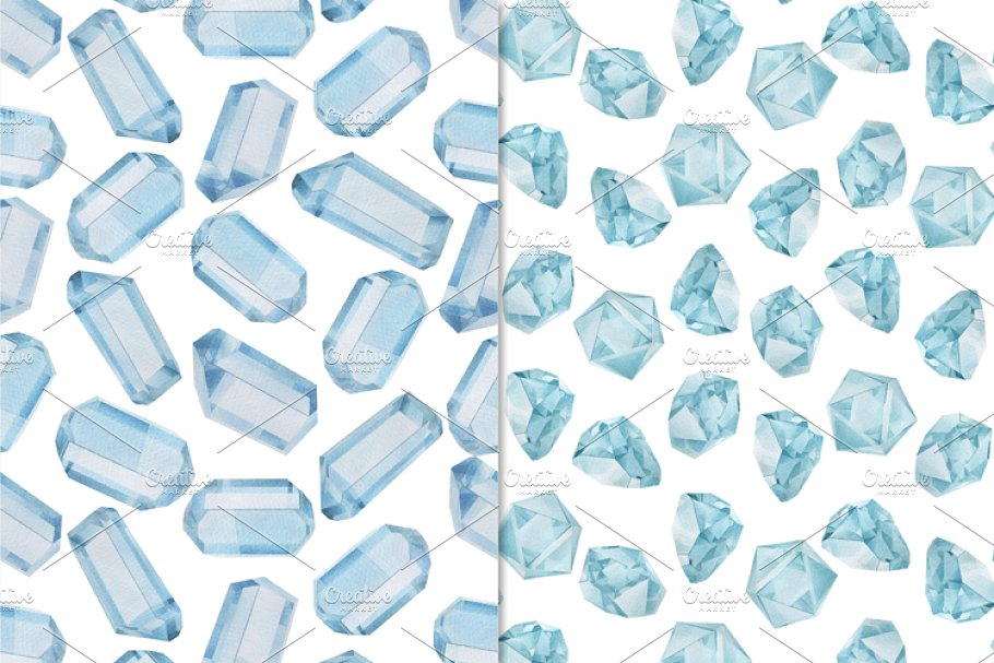 Gemstones seamless patterns in Patterns - product preview 1