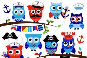 Nautical Owls Clipart & Vectors